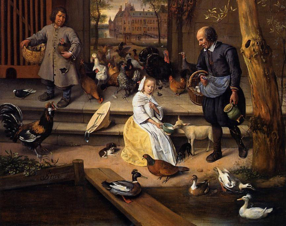 Picture of Jan Steen's Poultry Yard, 1650, with crested and pied ducks