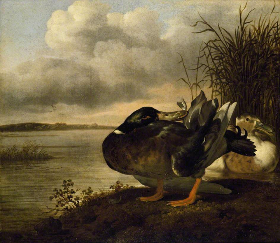 Picture of  A Pair of Ducks in a Landscape by Johannes Spruyt